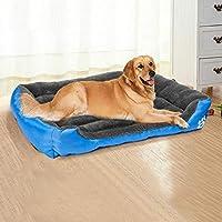 ペットベッド&スモールラージ犬の柔らかいフリース暖かいベッドのための防水犬のバスケットハウスマットケンネル居心地の良い犬の家の巣 (Color : Blue, Size : M)
