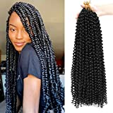Passion Twist Hair 24 inch 7 Packs Water Wave Braiding Hair for Long Bohemian Braids Butterfly Locs Crochet Hair (24inch, #1B, Total 154 strands)