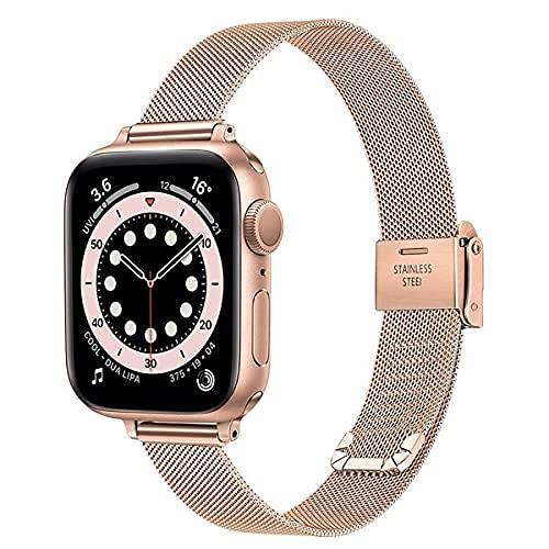Slim Watch Strap compatible con la serie MPP Apple Series 6 / SE 44mm 42mm Bands, banda de reloj de reloj de acero inoxidable tejido de malla de la banda de reemplazo de negocios femenino para iWatch