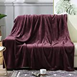 BEAUTEX Fleece Throw Blanket for Couch Sofa or Bed Throw Size, Soft Fuzzy Plush Blanket, Luxury Flannel Lap Blanket, Super Cozy and Comfy for All Seasons (Wine, 50' x 60')