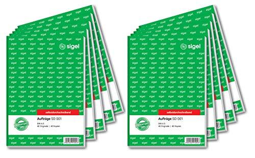 Sigel SD001 - Libreta para pedidos, papel de 2 capas, A5, 2 x 40 hojas, papel autocopiante, 10 unidades (texto en alemán)