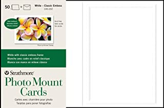 $34 » Strathmore 105-232 Photo Mount Cards, White, Classic Embossed Border, 50 Cards & Envelopes