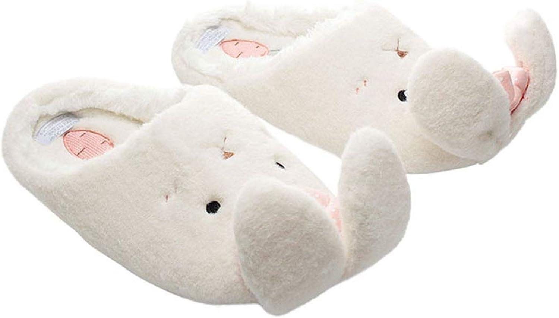 Women's Warm Slippers Cute Rabbit Slip-on Flats Soft Cotton Indoor Floor shoes, White