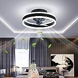 OMGPFR Ø40CM Ventilatore a soffitto con luci e Telecomando, LED 24W Oscuramento Moderno Plafoniera, Mute Illuminazione della Ventola per Soggiorno Camera da Letto Ufficio, 6 velocità del Vento,Nero
