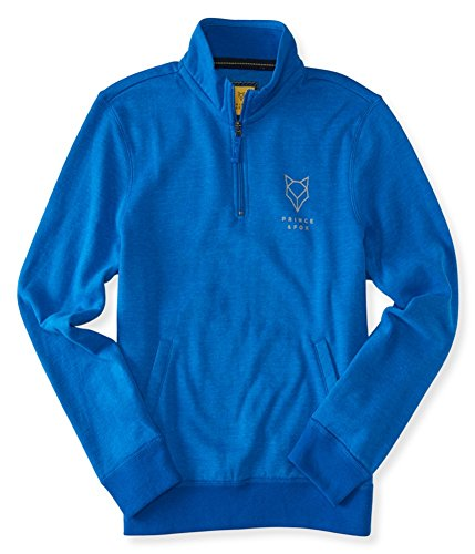 Aeropostale Mens 1/4 Zip Logo Sweatshirt, Blue, X-Small