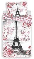 Paris Tour Eiffel Roses - Parure de Lit - Housse de couette Coton Une Housse de couette 140 x 200 cm Une taie d'oreiller 70 x 90 cm 100% coton, Lavable en machine Convient pour un lit 1 personne