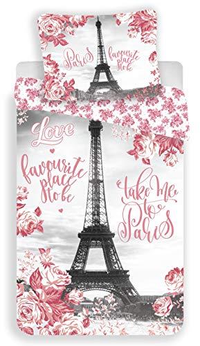 No 6 Paris Bettwäsche, Motiv: Eiffelturm, Rosen, Bettbezug aus Baumwolle