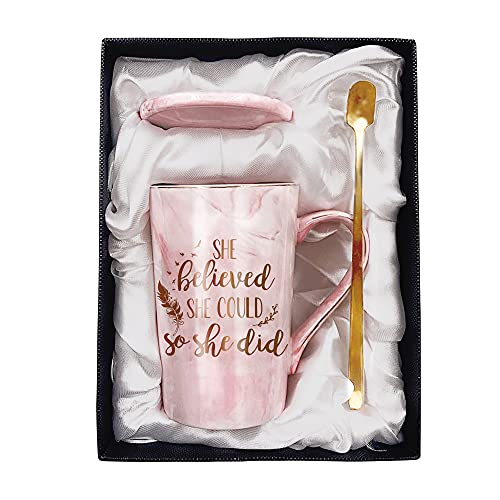 Tom Boy Congratulations Gifts for Women, College High School Graduation Gifts for Her, She Believed She Could So She Did Marble Mug, Get Well, Coworker Leaving, Going Away Gifts Coffee Mug Cup 11oz