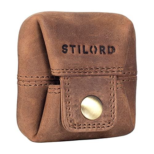 STILORD 'Claron' Mini Cartera Cuero Monedero Vintage Billetera Pequeña para Hombre Mujer Slim Wallet para Cambio de Monedas de Piel Autentica, Color:marrón - Medio