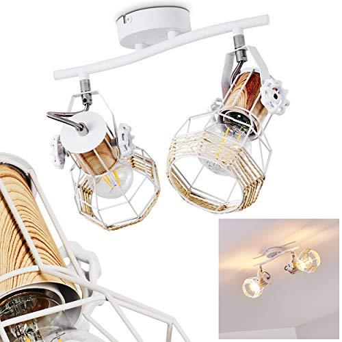Lámpara de techo Barbacena de metal / madera / rafia en blanco...