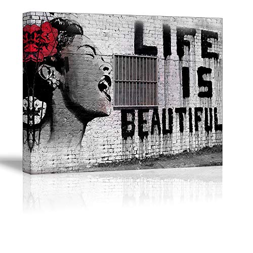 Canvas Wall Art for Bedroom, PIY Life is Beautiful Picture Gallery Canvas Prints Home Decor, 1 Deep Frame, Ready to Hang, Waterproof Giclee Print Oil Paintings, 12x16x1(Thick) Ready to Hang