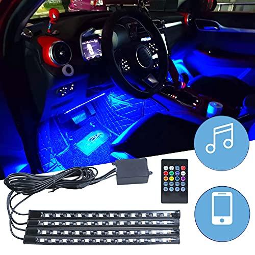 Iluminación interior LED para coche, controlable mediante mando a distancia, iluminación ambiental LED, puerto USB y control de música, tira de luz de ambiente