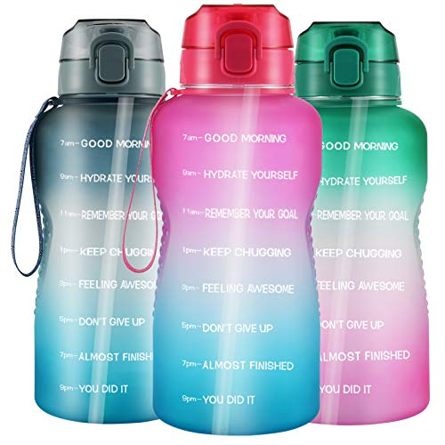Large 1 Gallon/128oz Water Bottle with Straw, Portable Motivational Big Water Bottles with Time Marker - Leakproof Tritan BPA Free Water Jug, Ensure Daily Drink for Fitness, Gym and Outdoor Sports
