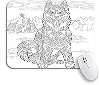 可愛いマウスパッド アラスカマラミュートシベリアンハスキーエスキモー犬ぬりえページ大人滑り止めラバーバッキングマウスパッドノートブックコンピュータマウスマット