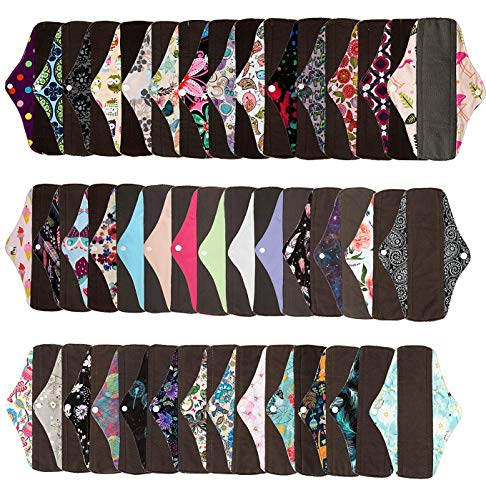 Lot de 6 serviettes hygiéniques réutilisables de taille standard - Charbon de bambou - 6 designs sur 17 au choix