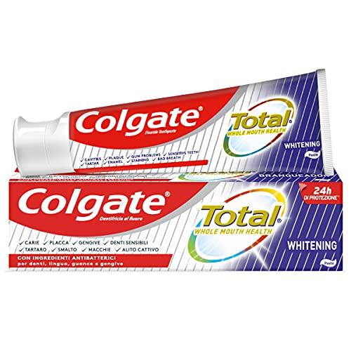 Colgate Total Dentifricio Sbiancante con Ingredienti Antibatterici Total Whitening, per la Protezione di Denti, Lingua, Guance e Gengive, 75 ml