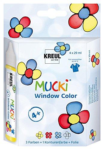 Kreul 24450 - Mucki Window Color Set, 4 x 29 ml Farbe und feste Folie, Fenstermalfarbe auf Wasserbasis, parabenfrei, glutenfrei, laktosefrei, vegan, leicht vermalbar, auswaschbar