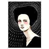 YTGDFB Laberinto Ilusión Anillo Anual Mujer Pluma Arte Abstracto Lienzo Pintura Decorativa Impresión Cartel Imagen Pared Decoración del Hogar 60X90 Cm Sin Marco Ab165-2
