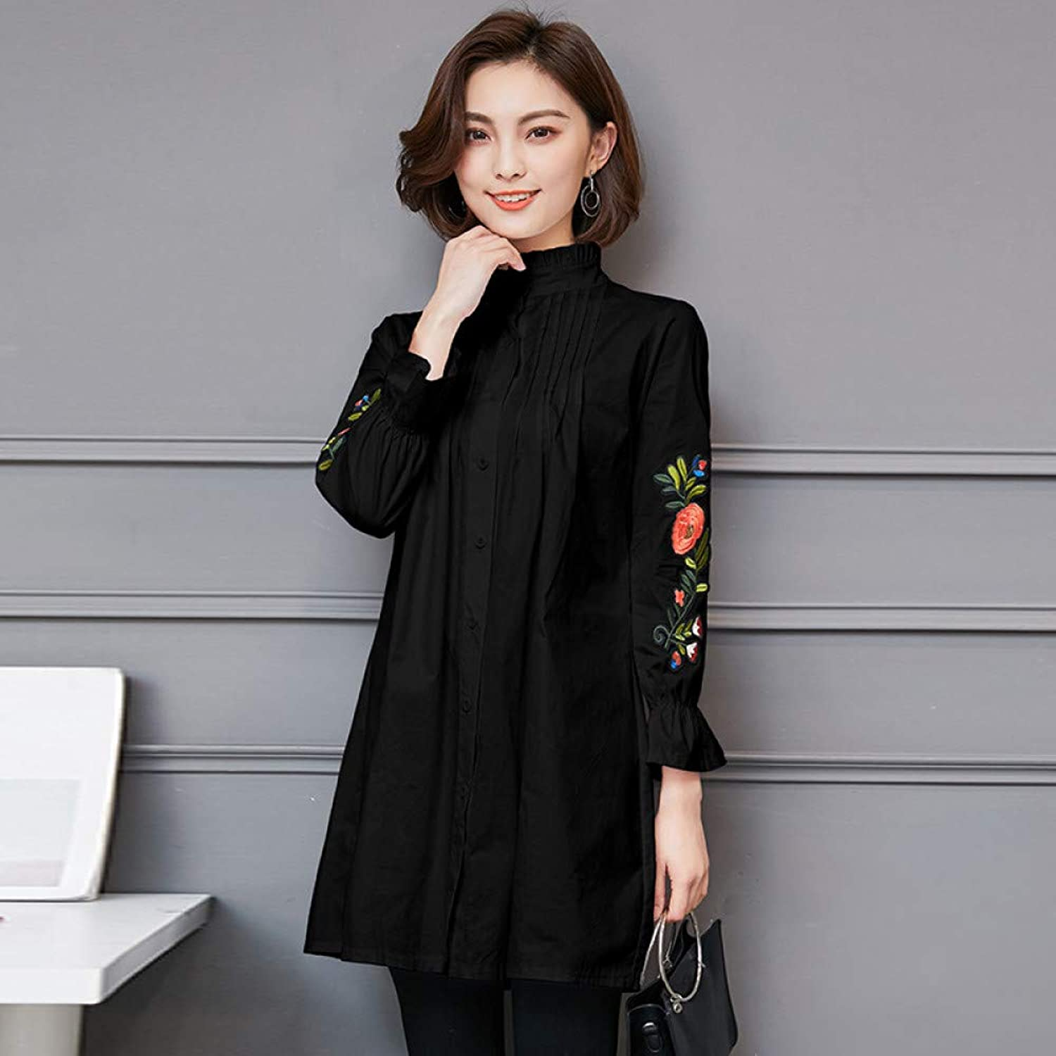 Cxlyq Dresses Large Size Women's Shirt Embroidery Long Section SevenPoint Sleeve Shirt Dress