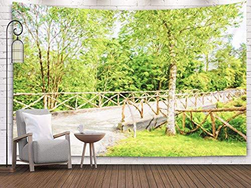 Biubiu-Shop Wandteppich Tapisserie Dekoration 90x60 Zoll ländliche Brücke Alter Zaun im Sommer Sonniger Tag Norwegen Ölgemälde dekorative Wandbehang Wandteppich, grau grün