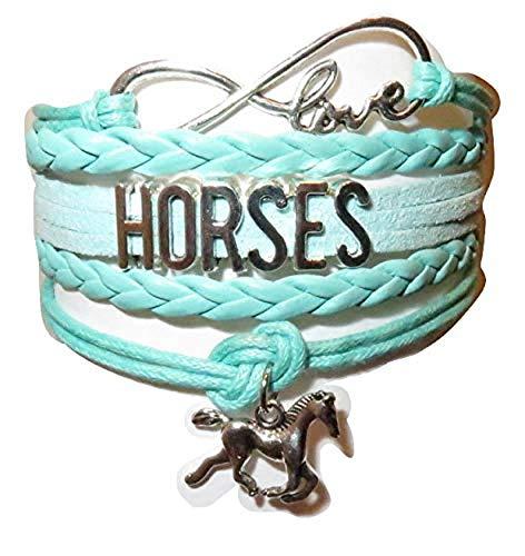 Electrobuyonline Horse Bracelet Gift for Girls, Horse Jewelry, Infinity Bracelet Horse Charm, Girls Gifts,Teen Gifts for Pony Loving Girls, Birthday Gifts for Girls, Horse Gifts (Green)