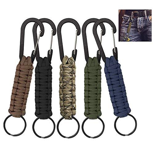 iwobi 5 stuks sleutelhangers, outdoor paracord sleutelhangers met karabijnhaak sleutelhangers voor wandelen, outdoor, camping