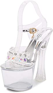 Women's Fish-Billed Sandals,Ladies Buckle Chunky Heel Sandals,Summer Rhinestones PlatformSandals Beaded Pumps Shoes