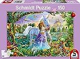 Schmidt Spiele Puzzle 56307 Princesa con Unicornio y candado, 150 Piezas, Multicolor
