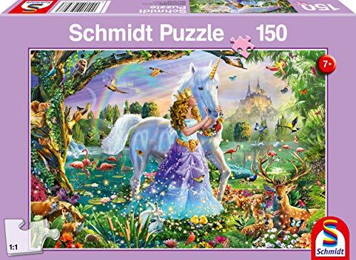Schmidt Spiele Puzzle 56307 Prinzessin mit Einhorn und Schloß 150 Teile Kinderpuzzle, bunt
