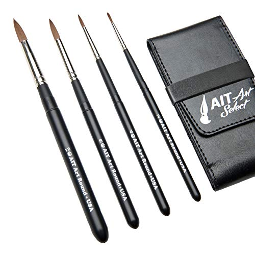 AIT Art Select Paint Brushes - Set of 4 Synthetic Sable Brushes - Handmade in USA - Compact Travel Set