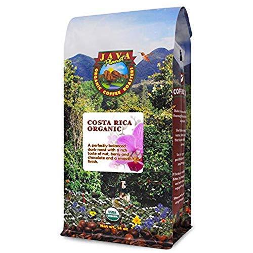 Java Planet, Organic Coffee Beans, Costa Rica Single Origin, Gourmet Dark Roast of Arabica Whole Bean Coffee, Certified Organic, Grown at High Altitudes 1 14 oz bag