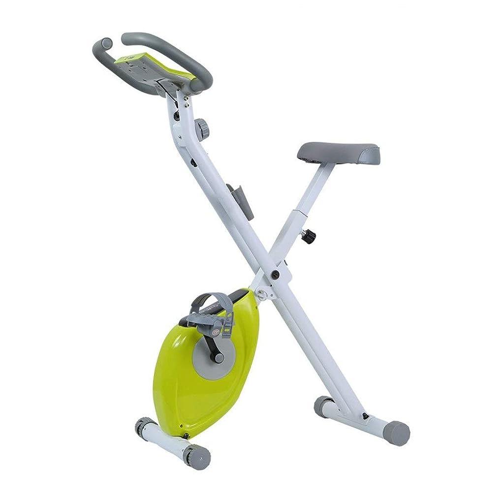 厚くする役割インレイ室内サイクリングエアロバイク フィットネスカーディオ減量トレーニングマシンで折り畳み式トレーニングコンピュータと楕円クロストレーナー Fitness Cardio Homeサイクリング (色 : 緑, サイズ : Free Size)