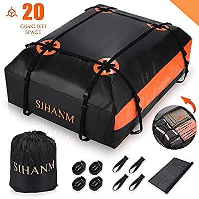 Car Roof Bag Rooftop Cargo Carrier Bag, 20 Cubic Feet Waterproof Car Top Carrier for Cars with/Without Racks, Vehicle Cargo Carriers with Storage Bag/Anti-Slip Mat/4 Reinforced Straps/4 Door Hooks
