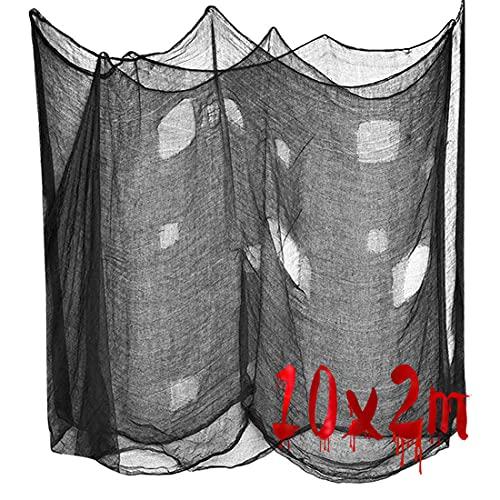 Meleager Halloween Dekostoff 10M x 2M, Halloween Tuch Schwarz,Halloween Deko Stoff, Gruseliger Stoff, für Halloween Haunted Hause Party Dekoration