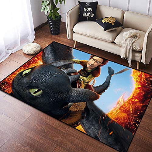 Coobal How to Train Your Dragon Home Decor Alfombra grande para suelo de yoga, alfombra de guardería para niños, sala de juegos, dormitorio, 3 x 5 pies (90 x 150 cm)