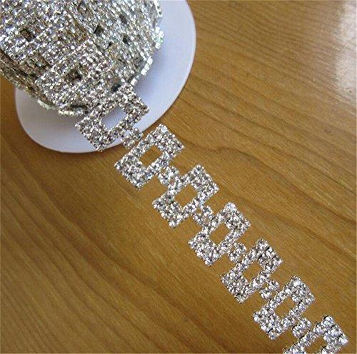 30 cm Bling Diamante Diamond Trim Ribbon Beaded Rhinestone 1.5 cm Width Chain Crystal Gem Sparkle Wedding Bridal Prom Evening Dress Applique Accessories Sash Belt Headband Decor Headdress DIY Craft