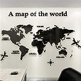 3D Mappa Del Mondo Wall Sticker Adesivi Adatto Per Adesivi Murali Parete Sfondo Divano Soggiorno Ufficio Mappa Del Mondo Wall Sticker Home Decor (M-120 * 60cm, Nero)