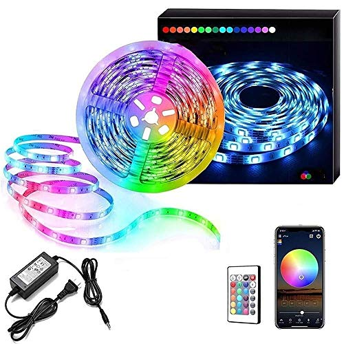 DKee String Lights LED Strip Lights WiFi Wireless Smart Phone APP Controlled Sync to Music 5M 16.4ft Waterproof RGB Light Strips Kit 5050 LED Lights Compatible with Alexa,IFTTT (Color : 16.4ft)