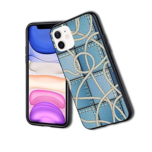 Varios parches de mezclilla en el mar con cuerda de nudo marinero en el primer plano, funda de teléfono para iPhone, resistente a los golpes, protector de doble capa