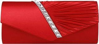 AiSi Damen Satin Clutch Strass Abendtasche mit Kette mini Handtasche für Hochzeit, Silber Rot Beige