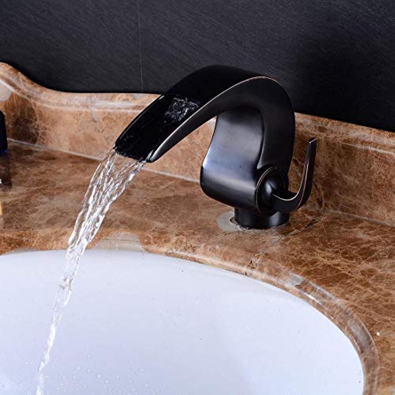 Wasserhahn Waschtischarmatur Bad-Wasserfall-Hahnwaschbecken Des Europischen Alten Bassinhahnschwarzalters Alten Alten Beckenhahn-Retro- Retro- Heien Und Kalten Hahn
