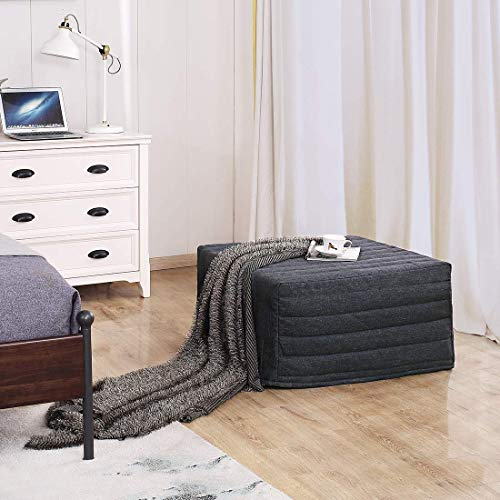 """TATAGO Dual Use Ottoman Folding Bed with Steel Frame Base, Soft Mattress, 500 lbs Max Weight Capacity, Cotton Cover, Guest Hideaway, 78"""" x 30"""""""