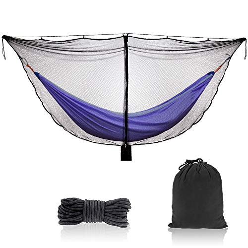 TOBWOLF Camping Hammock Net, Lightweight Outdoor Mosquito Net, 360 Degree Protection Polyester Netting with Dual Sided Zipper & Rope & Storage Bag (Not Include Hammock)