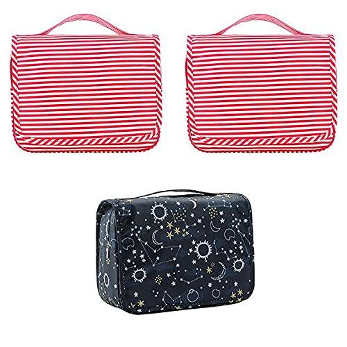 Parshall Bolsa organizadora de artículos de aseo coreanos impermeable para colgar cosméticos portátil plegable bolsa de almacenamiento para natación gimnasio, 3 unidades, Rojo*2+ Azul marino,