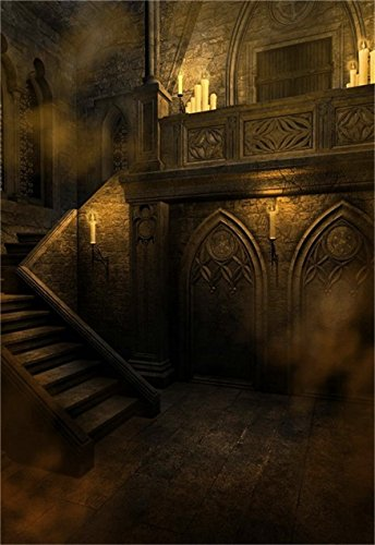 AOFOTO 6x8ft Gloomy Gothic Style Backdrop Scary Vintage Room Photography Background Stone Wall Stairs Candle Halloween Interior Photo Studio Props Girl Boy Kid Youngster Artistic Portrait Wallpaper