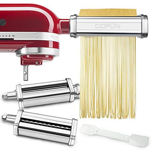 Pasta Maker Attachments Set for KitchenAid Stand Mixers, 3 Pcs Stainless Steel Pasta Maker Attachment for Kitchenaid, Includes Pasta Roller and Spaghetti Cutter, Fettuccine Cutter