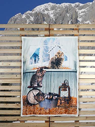 Banzaii Coperta Plaid di Pile da Divano Calda e Morbida con Stampa Digitale - 130x160 cm Cats
