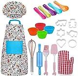 Wuudi 30 Stück Küchenspielzeug Set Kinderküche Zubehör wasserfesten Schürze und Kochmütze Kinderspielzeug zum Kochen Koch Rollenspiele für Kinder (Mehrweg)