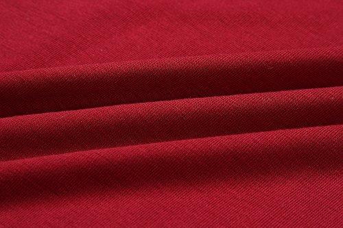 Ajpguot Ajpguot Damen Freizeit Kleid mit Gürtel Elegant Rundhals Midi Kleider Blusenkleider Ballkleid Festkleid Frauen Langarm Tasche Wickelkleider Abendkleider Partykleid, Rotwein, S