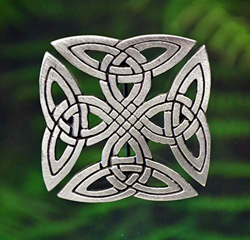 Squared Celtic Knot-Work Pewter Brooch Pin -Celtic/Medieval/Handcrafted